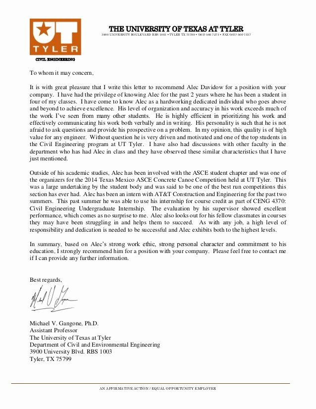 Uc Letter Of Recommendation Best Of Letter Of Re Mendation Ut Tyler