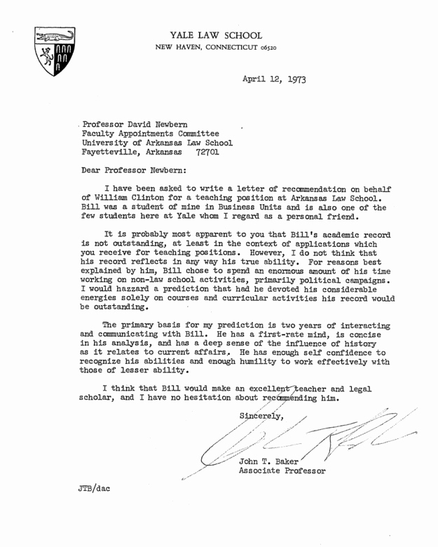 Uc Letter Of Recommendation Luxury Here S Bill Clinton S Personnel File From His Time as An
