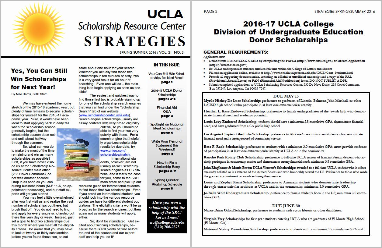 Ucla Letter Of Recommendation Elegant Scholarship Resource Center