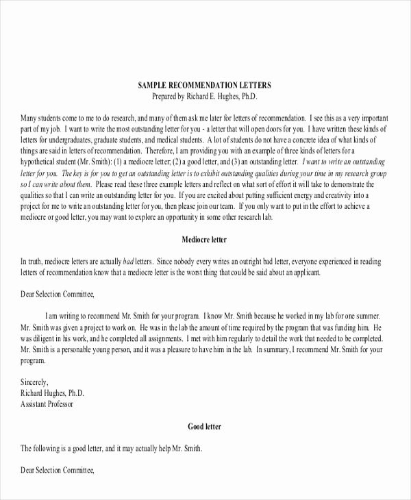 Ucsd Letter Of Recommendation Awesome 9 Generic Re Mendation Letter Samples