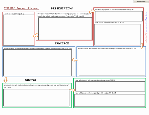 Udl Lesson Plan Template Lovely Universal Design for Learning Lesson Plan Template by