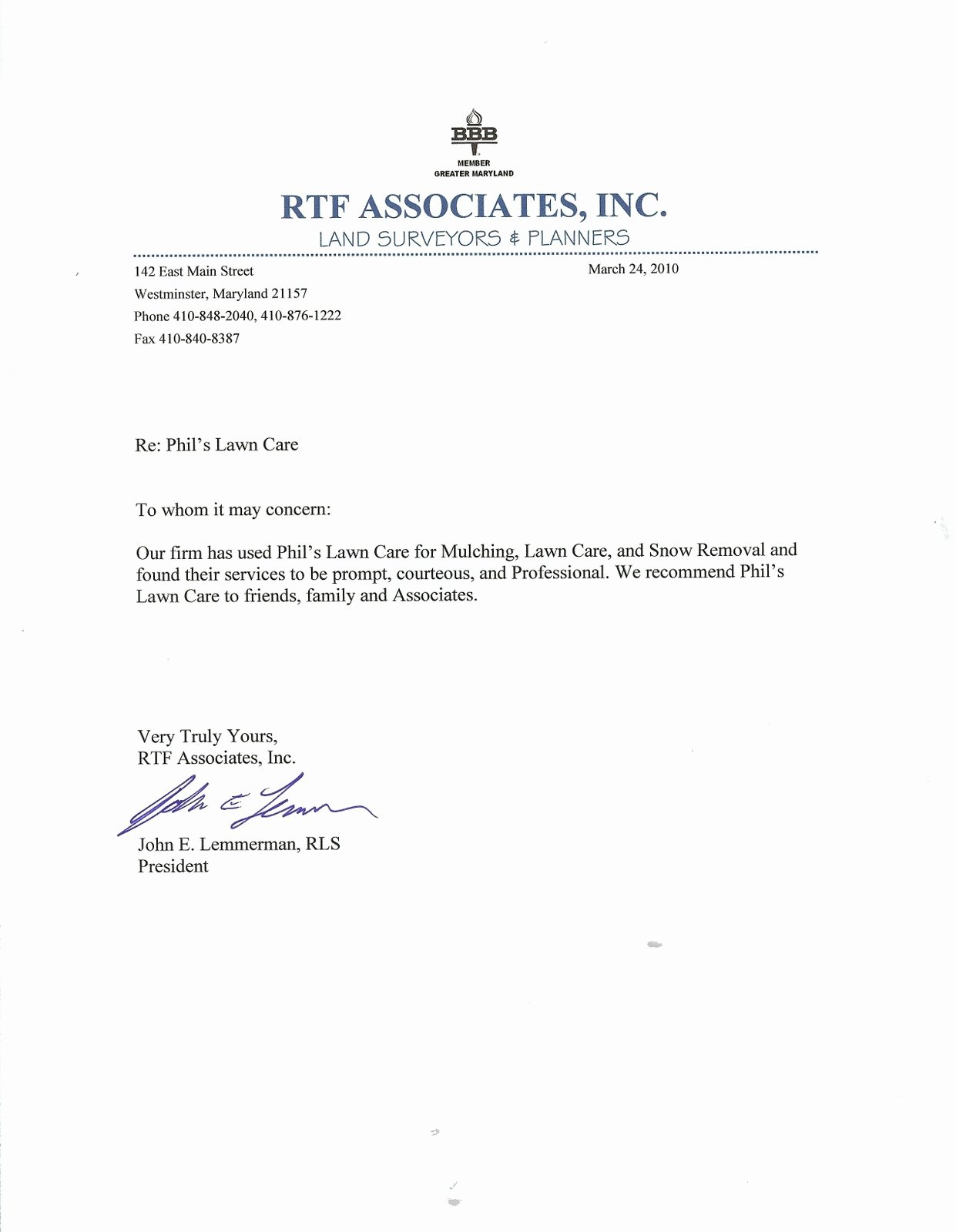 Uf Letter Of Recommendation form Beautiful Lawn and Landscape Service Based In Westminster Md