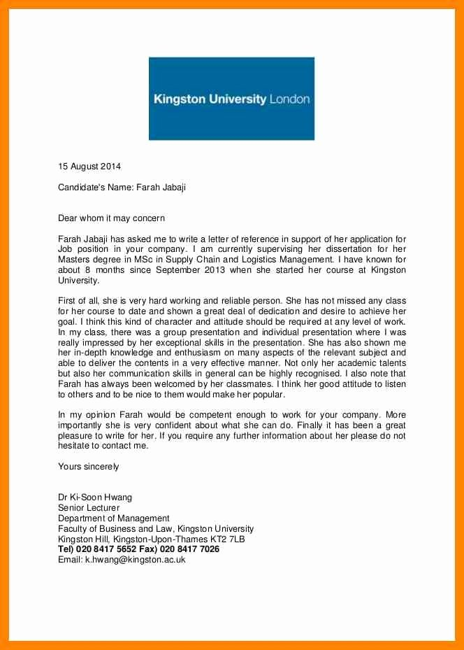 Uf Letter Of Recommendation form Best Of Re Mendation Letter for University Letter Of