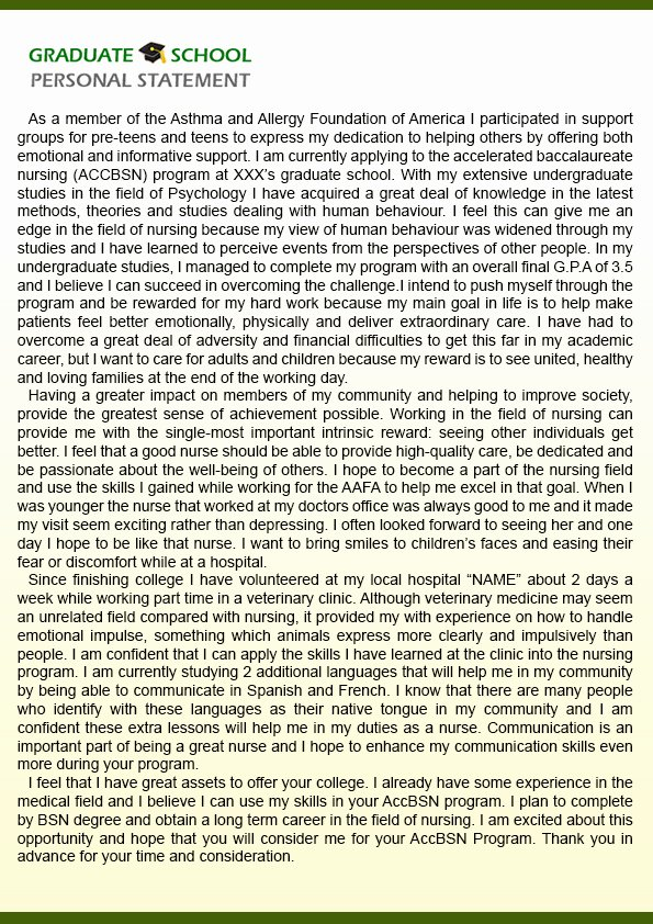 Uf Letter Of Recommendation form Best Of the Best Personal Statement Examples Nursing Graduate School
