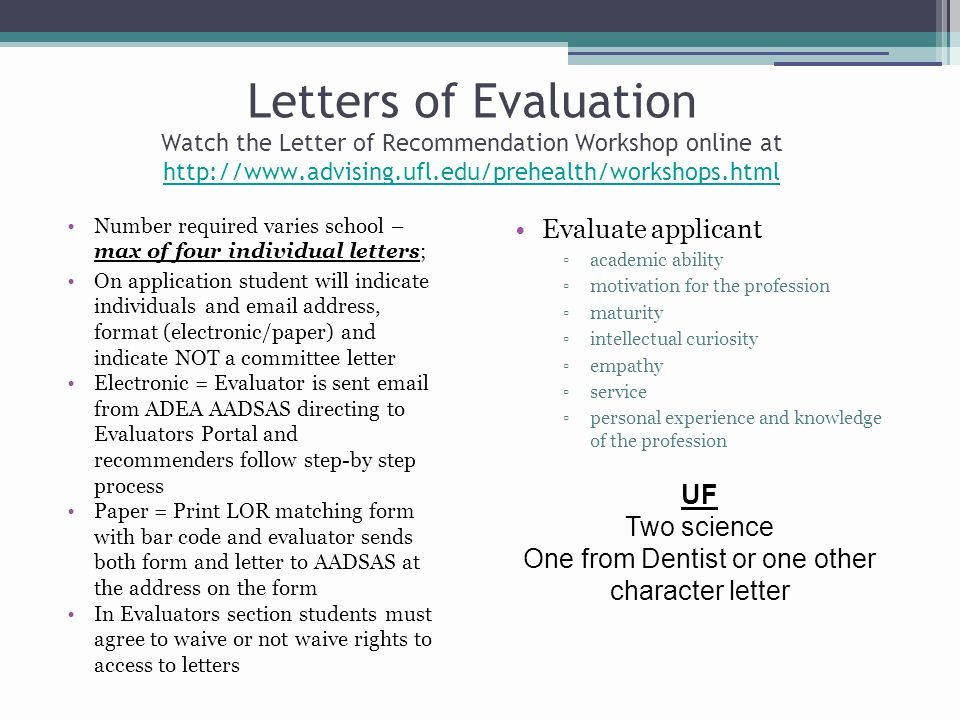 Uf Letter Of Recommendation form Lovely Dental Application Workshop Ppt Video Online