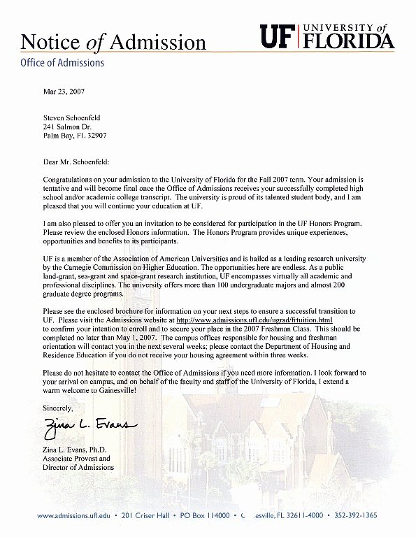 Uf Letter Of Recommendation form Luxury Letter Acceptance University