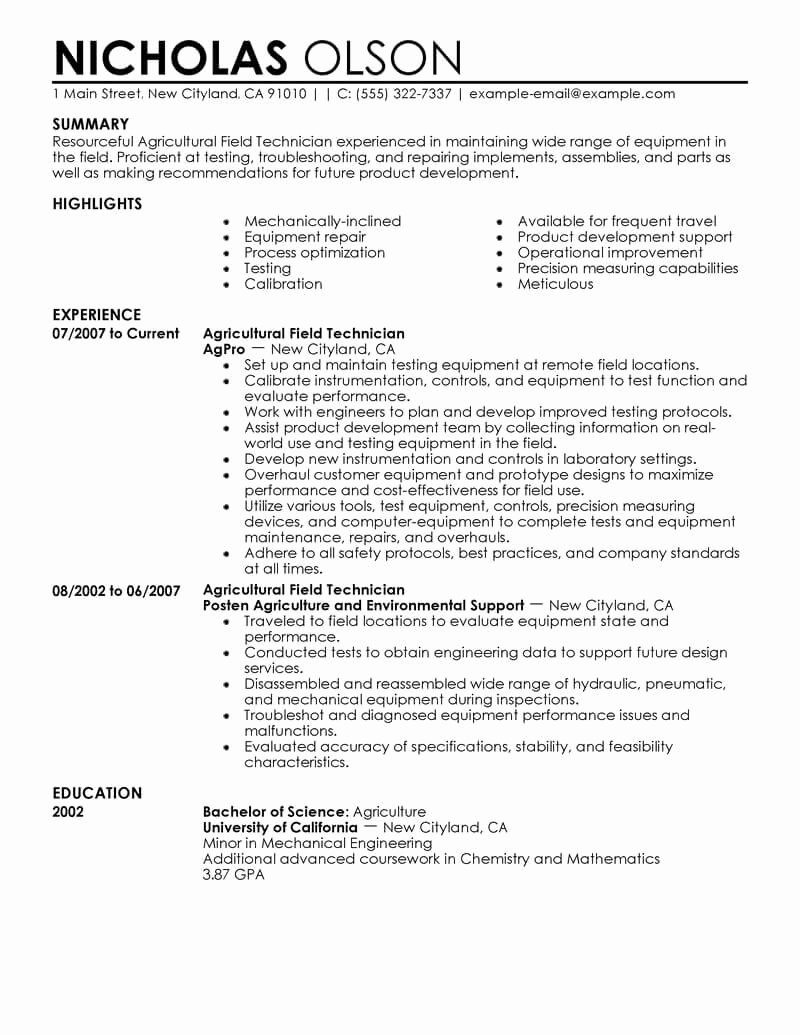 Uf Letter Of Recommendation New Best Field Technician Resume Example