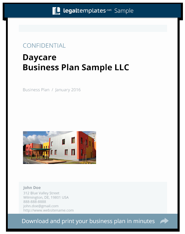 Umd 4 Year Plan Template Beautiful Daycare Business Plan Sample