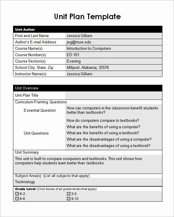 Unit Lesson Plan Template Luxury Unit Plan Template 11 Download Documents In Pdf Word