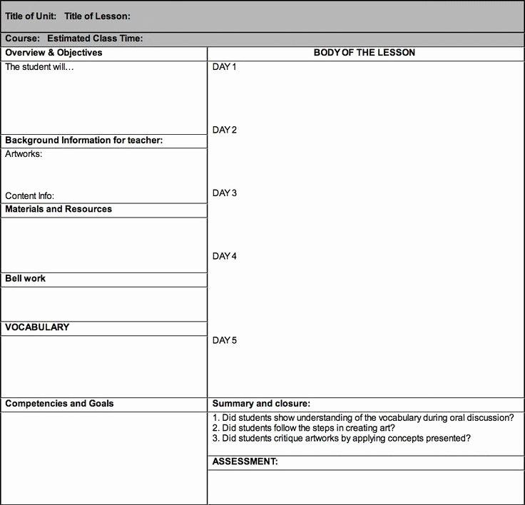 Unit Lesson Plan Template Unique Best 25 Blank Lesson Plan Template Ideas On Pinterest