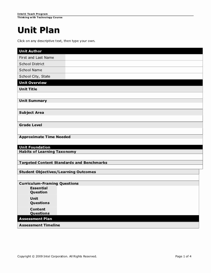 Unit Plan Template Doc Awesome Unit Plan Template Real Punye