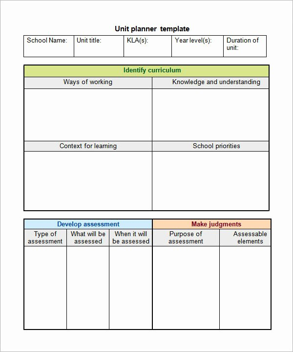 Unit Plan Template Doc Best Of 12 Sample Unit Plan Templates to Download for Free