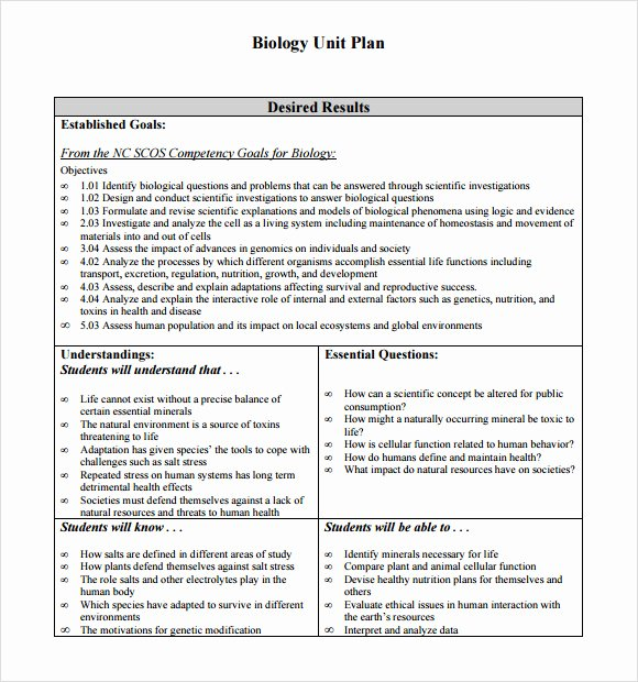 Unit Plan Template Doc Inspirational 8 Unit Plan Samples