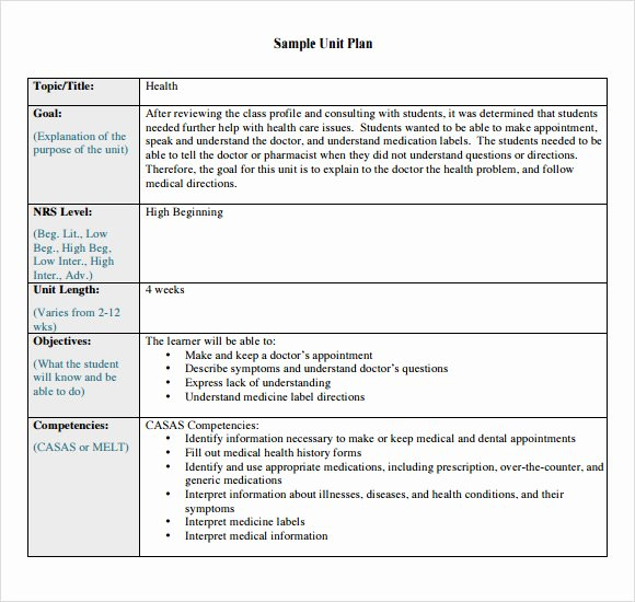 Unit Plan Template Doc Lovely 8 Unit Plan Samples