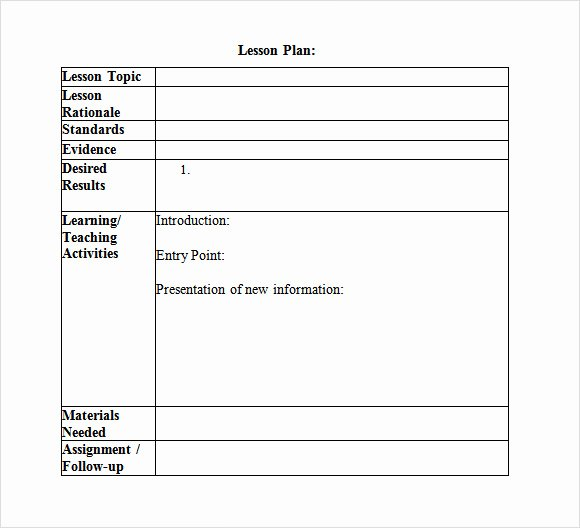 Unit Plan Template Doc New 10 Sample Lesson Plans