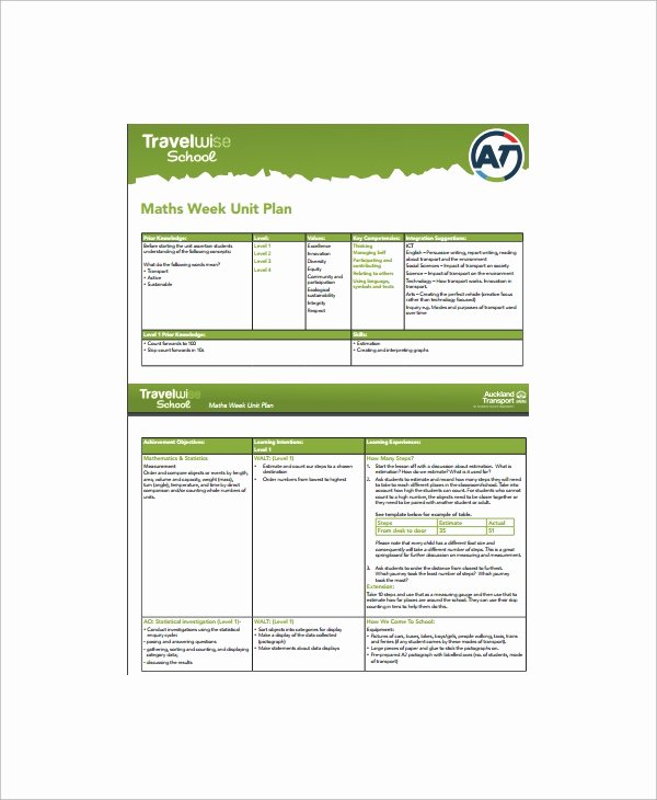 Unit Plan Template Doc New 8 Unit Plan Samples