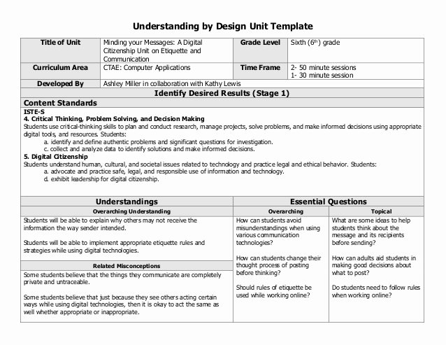 Unit Plan Template Word Best Of Digital Citizenship Collaborative Unit Lesson Plan