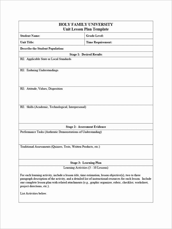 Unit Plan Template Word Lovely 40 Free Unit Plan Templates Pdf Word Sample formats