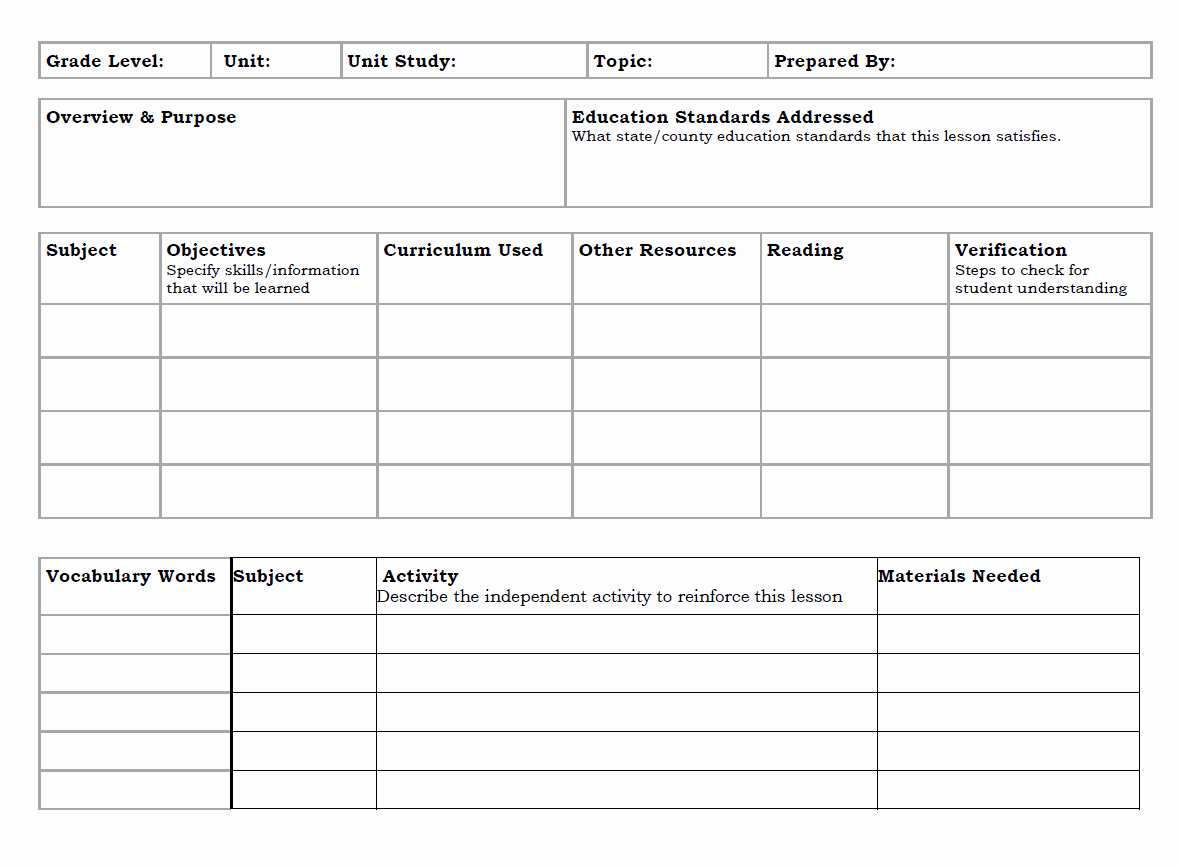 Unit Plan Template Word Lovely Unit Plan Template