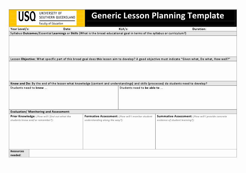 University Lesson Plan Template Elegant University Lesson Plan Template Usq Generic Lesson