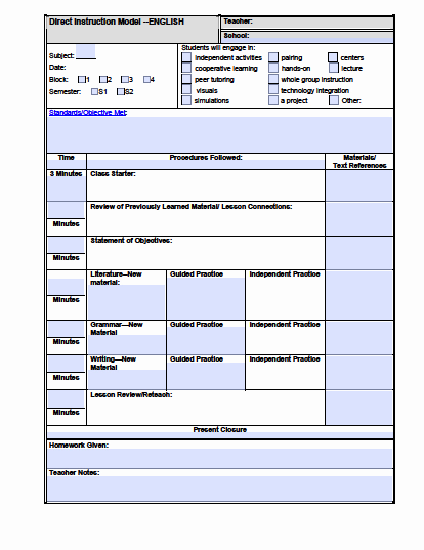 University Lesson Plan Template Luxury Download High School Lesson Plan Template