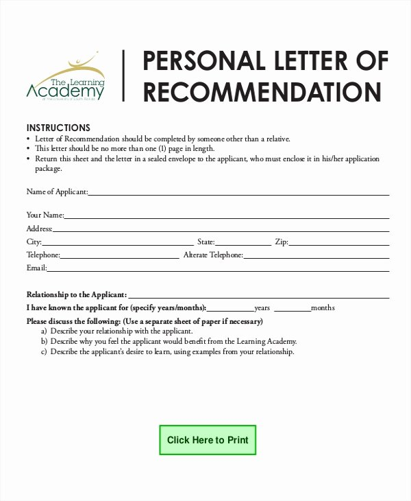 Usf Letter Of Recommendation Fresh 7 Personal Reference Letter Sample