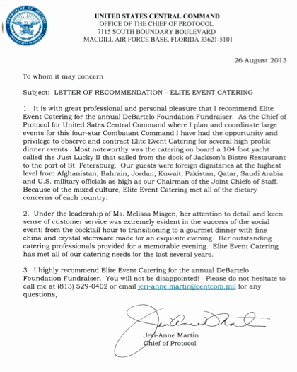Usf Letter Of Recommendation New Elite events Catering Letters Of Re Mendation