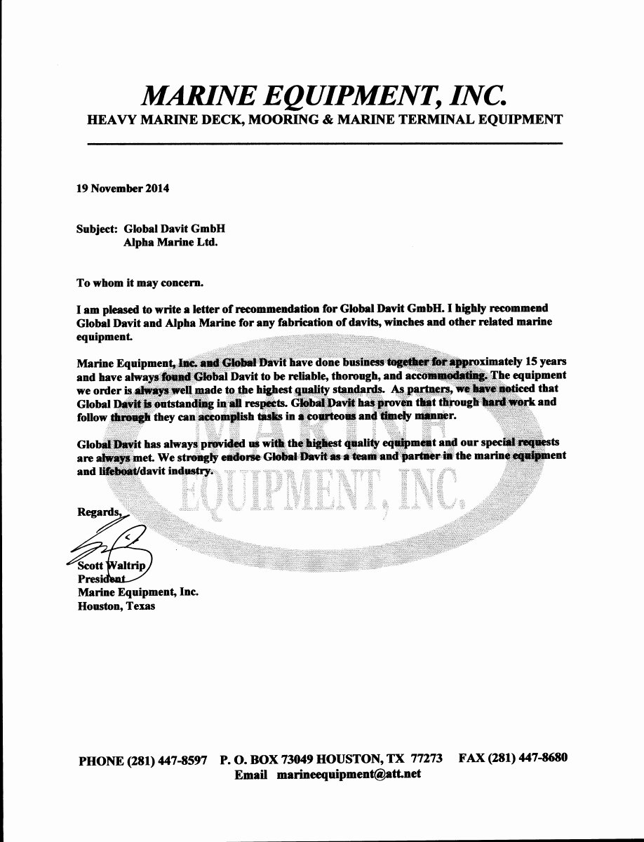 Usmc Letter Of Recommendation Awesome Reference Alpha Marine Gmbh