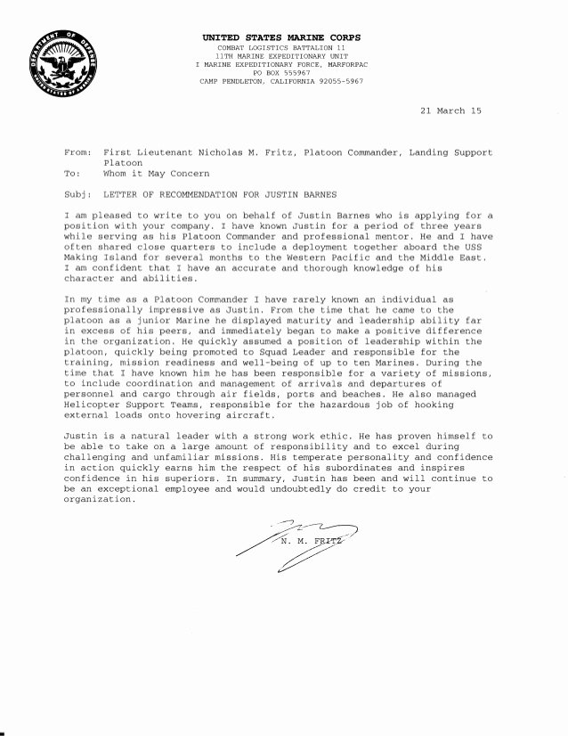 Usmc Letter Of Recommendation Best Of Letter Of Re Mendation
