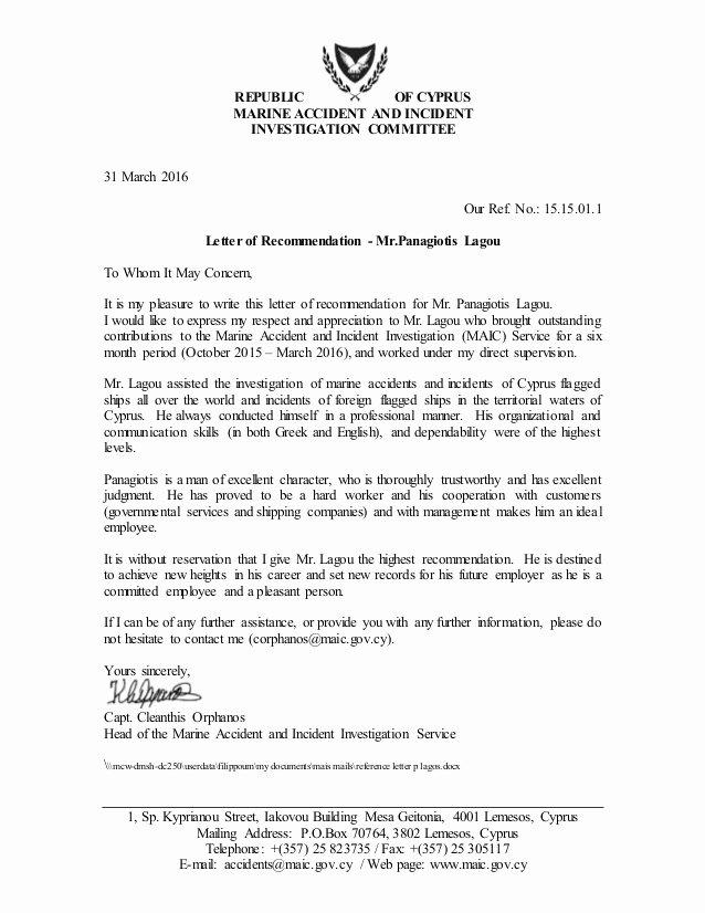 Usmc Letter Of Recommendation Elegant Reference Letter P Lagou