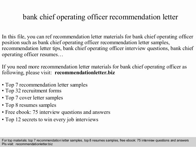 Usmc Letter Of Recommendation Luxury Bank Chief Operating Officer Re Mendation Letter