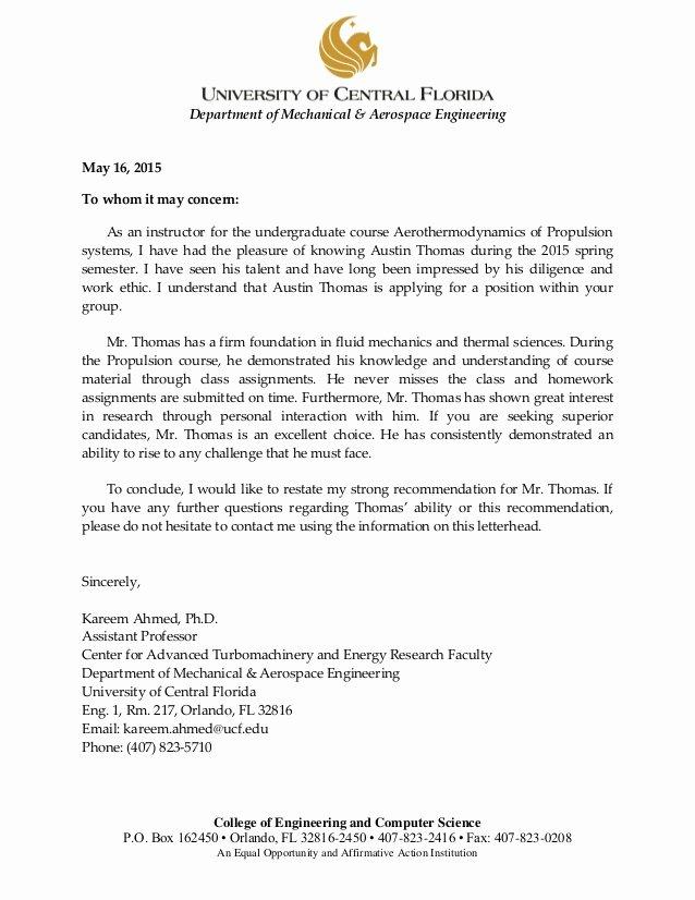Ut Austin Recommendation Letter Awesome Dr Ahmed Letter Of Re Mendation
