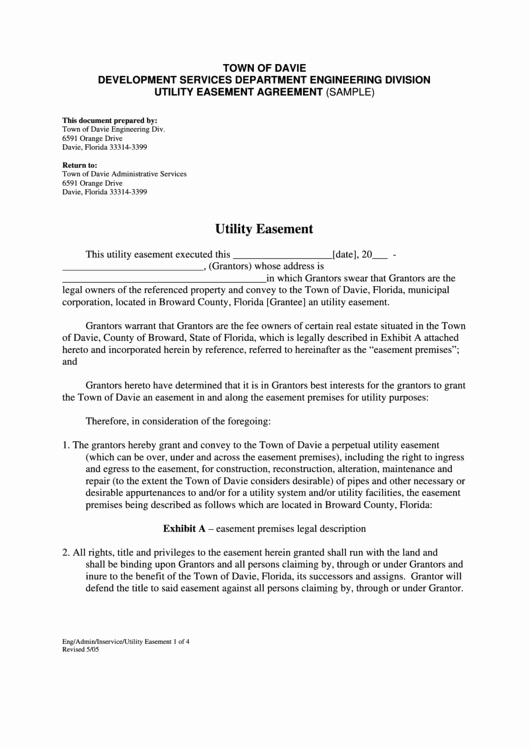 Utility Easement Agreement Template Awesome top Utility Easement form Templates Free to In