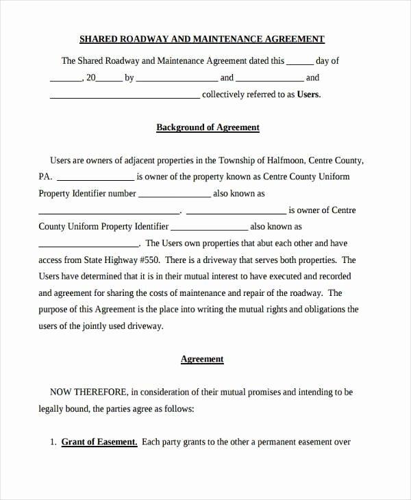 Utility Easement Agreement Template Fresh D Driveway Agreement