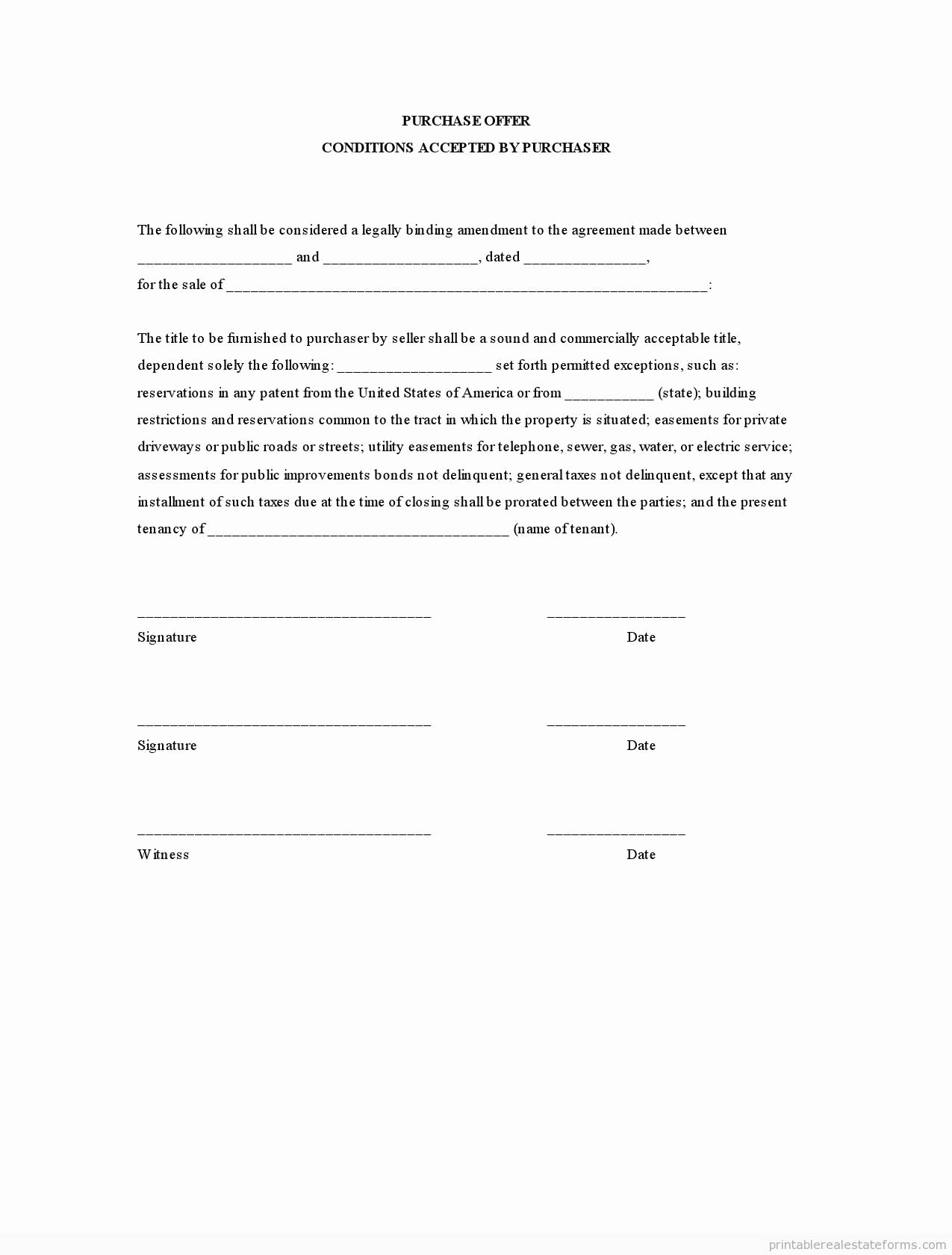 Utility Easement Agreement Template Inspirational Purchase Fer Conditions Accepted by Purchaser Basic