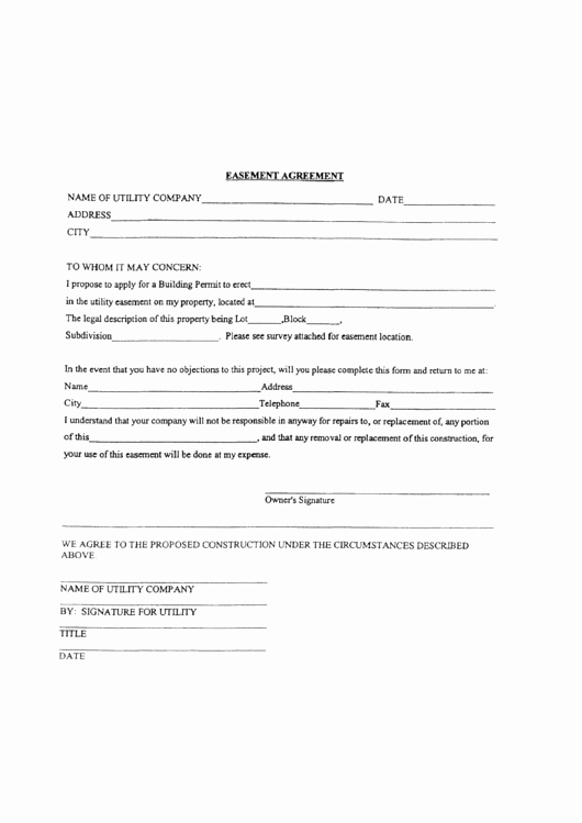 Utility Easement Agreement Template Luxury Easement Agreement Printable Pdf
