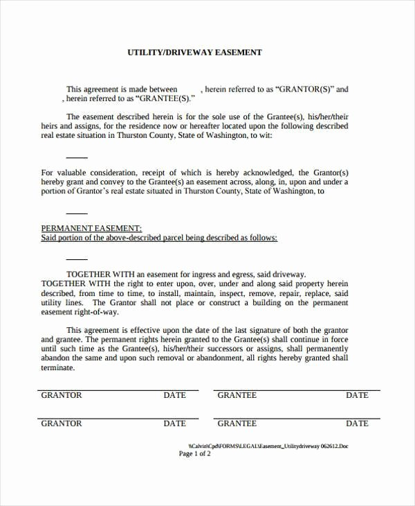Utility Easement Agreement Template New Sample Driveway Easement Agreement forms 7 Free