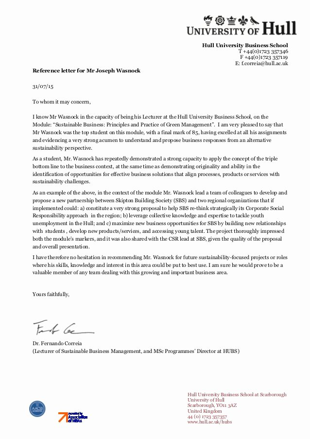 Uw Letter Of Recommendation Awesome Sustainable Business Reference Letter