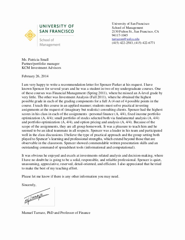 Uw Letter Of Recommendation Best Of Parker Spencer Letter Re Mendation