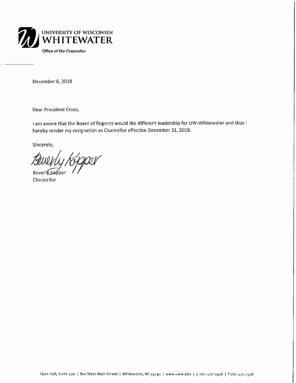 Uw Madison Letter Of Recommendation New Uw Whitewater Chancellor Resigns Amid Ual Harassment