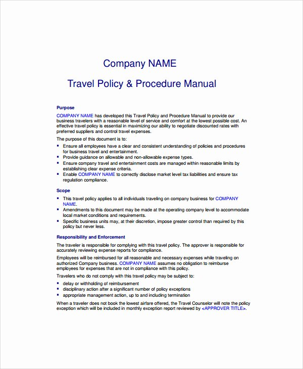 Vacation Coverage Plan Template Beautiful Travel Policy and Procedures forms