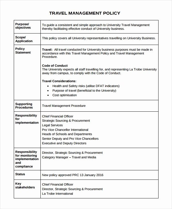 Vacation Coverage Plan Template Beautiful Travel Policy Template 7 Free Word Pdf Document
