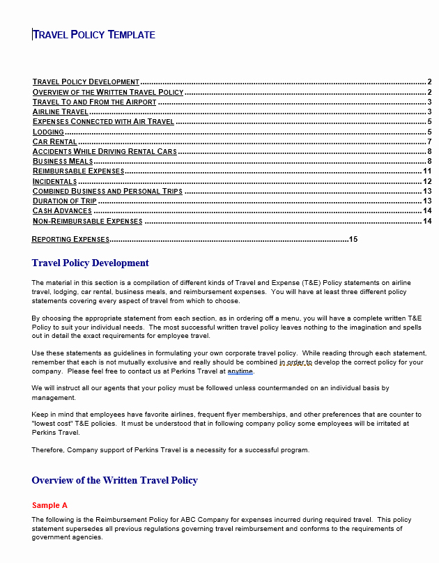 Vacation Coverage Plan Template Beautiful Travel Policy Template