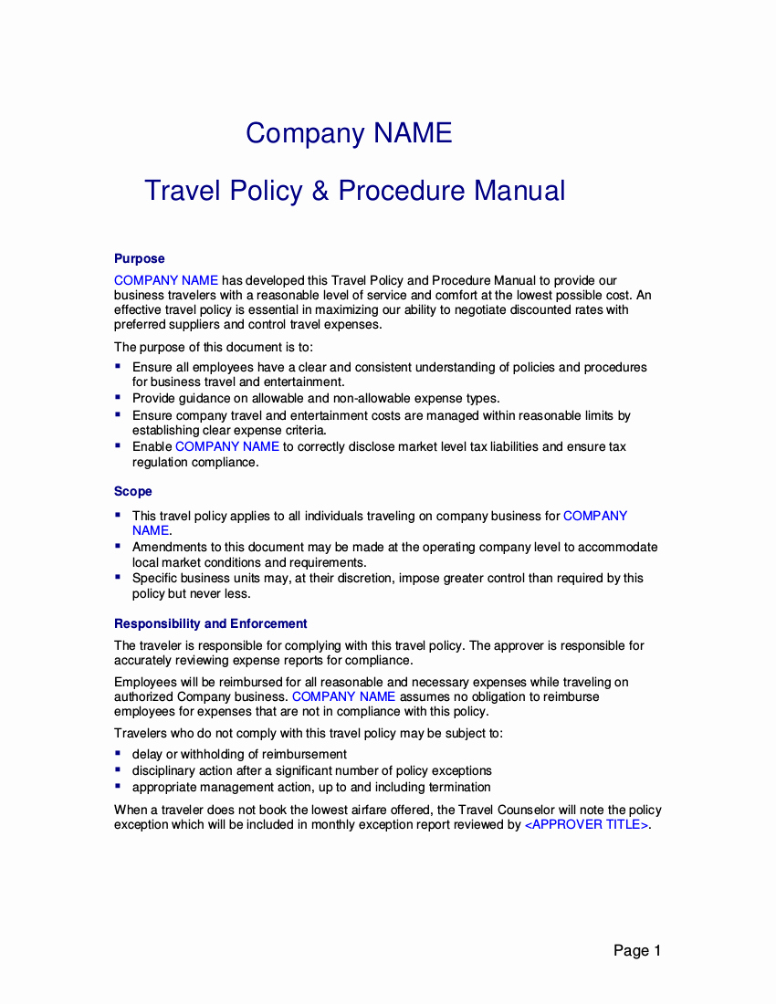 Vacation Coverage Plan Template Elegant 22 Travel Policy Examples & Samples