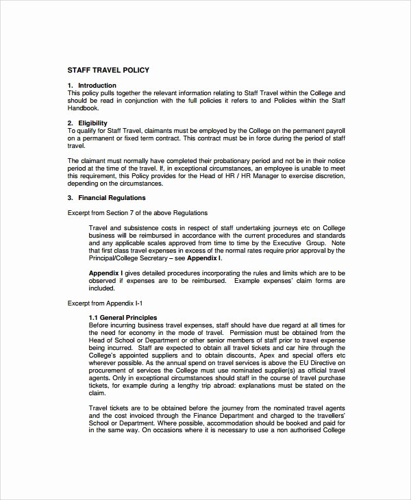 Vacation Coverage Plan Template Elegant Sample Travel Policy Template 9 Free Documents Download