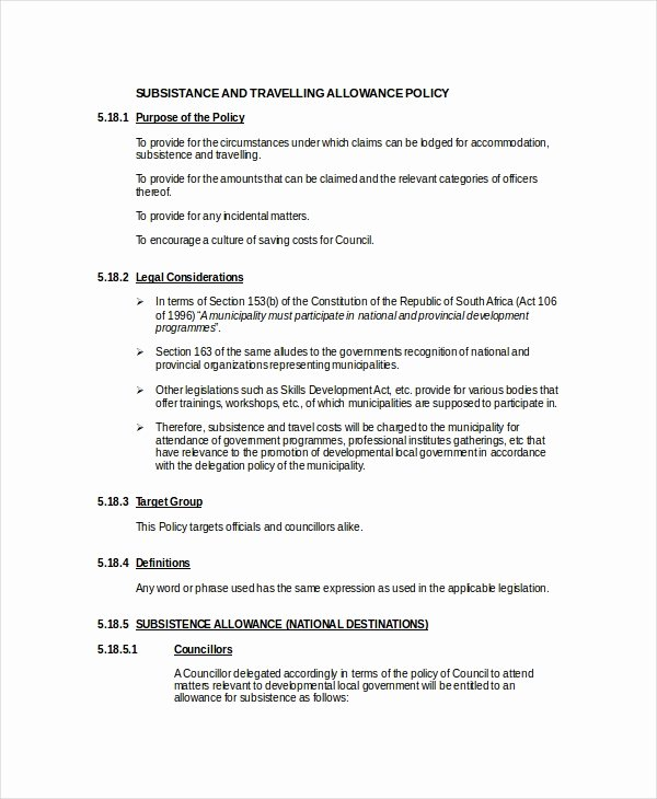 Vacation Coverage Plan Template Fresh Travel Policy Template 7 Free Word Pdf Document