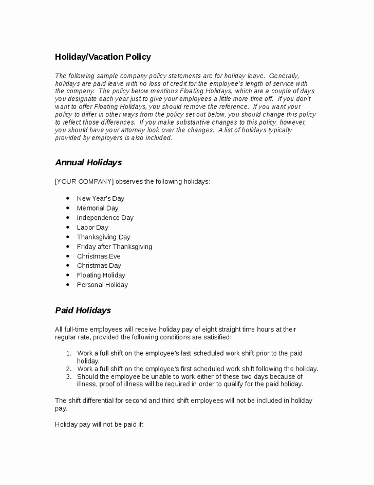 Vacation Coverage Plan Template Inspirational 28 Of Template Vacation Policy