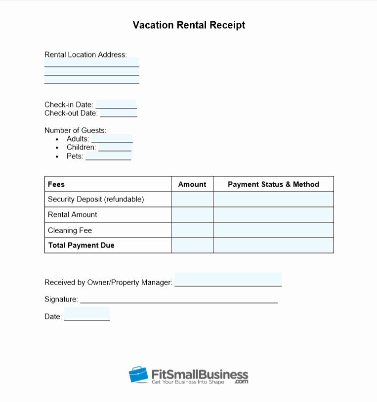 Vacation Rental Business Plan Template Fresh Free Printable Rent Receipt Template Download