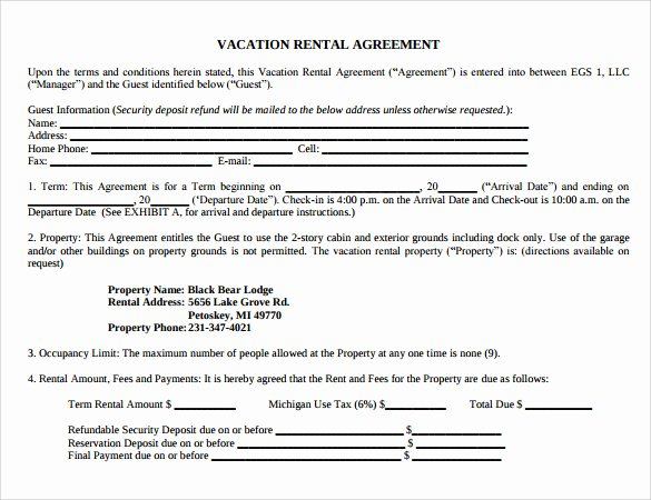 Vacation Rental Business Plan Template New 8 Vacation Rental Agreement Templates