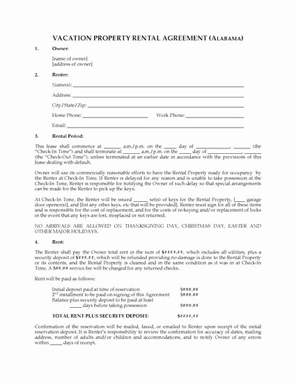 Vacation Rental Business Plan Template New Alabama Vacation Property Rental Agreement